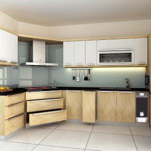 tủ bếp inox kết hợp với gỗ