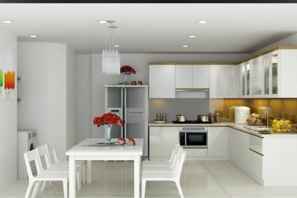 Tủ bếp inox acrylic trang trí nội thất cho nhà bếp