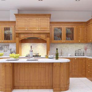 tủ bếp khung inox cánh gỗ tự nhiên