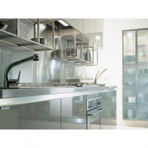 tủ bếp inox sang trọng cánh bạc trắng
