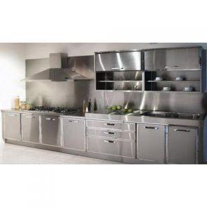tủ bếp inox cánh bạc kèm tum hút mùi