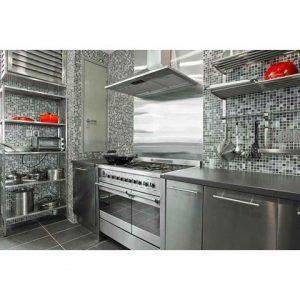 tủ bếp inox cánh inox bạc