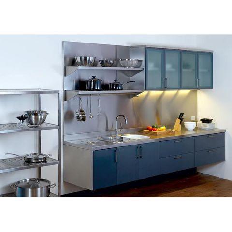 tủ bếp inox trắng xanh
