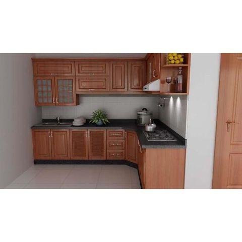 tủ bếp inox cánh gỗ đỏ