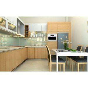 tủ bếp inox cánh gỗ vàng