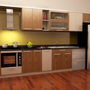 Tủ bếp inox cánh gỗ tự nhiên 11