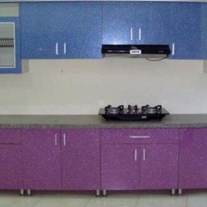 tủ bếp inox cánh màu tím xanh kim tuyến