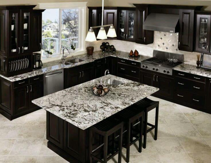 Tủ bếp inox đá Granite