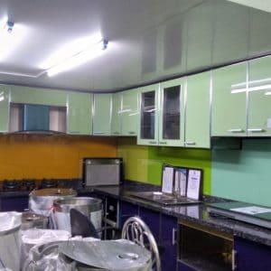 Tủ bếp inox cánh nhựa composite màu xanh