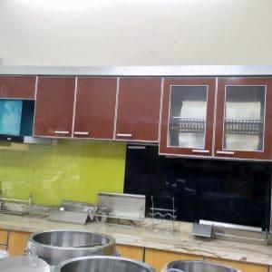 tủ bếp inox giả vân gỗ