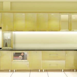 Tủ bếp inox cánh nhựa composite màu vàng ánh kim đẹp trang nhã cho nhà bếp thân yêu